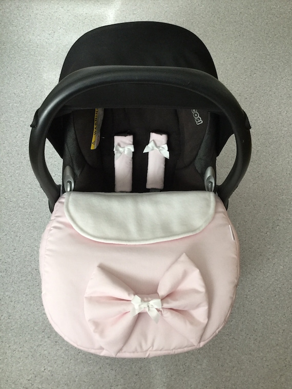 baby car seat black apron footmuff harness covers white faux fur blossom bow