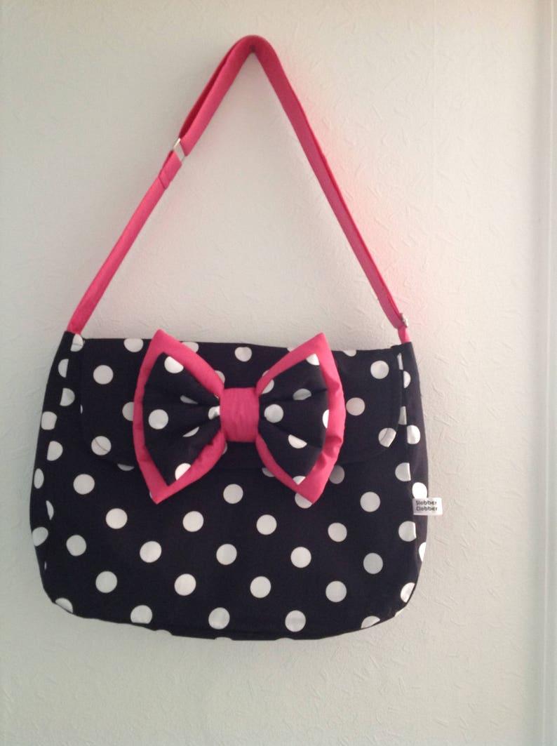 pram baby changing bag diapers nappies black white cerise pink image 0
