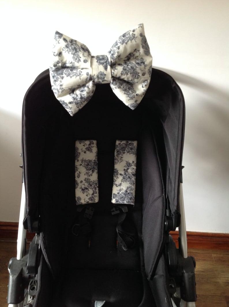 hand made pram harness strap covers  padded hood bow grey cream grey