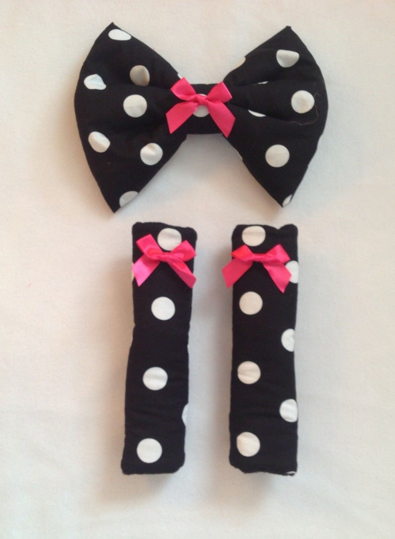 hand made pram padded bow black white dotty polka spots cotton image 0