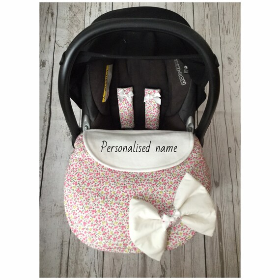 GREY QUILTED  BABY CAR SEAT COVER HARNESS COVERS APRON PINK FLEECE PERSONALISED