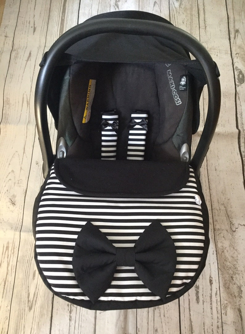 baby car seat apron harness strap covers attached bow black image 0
