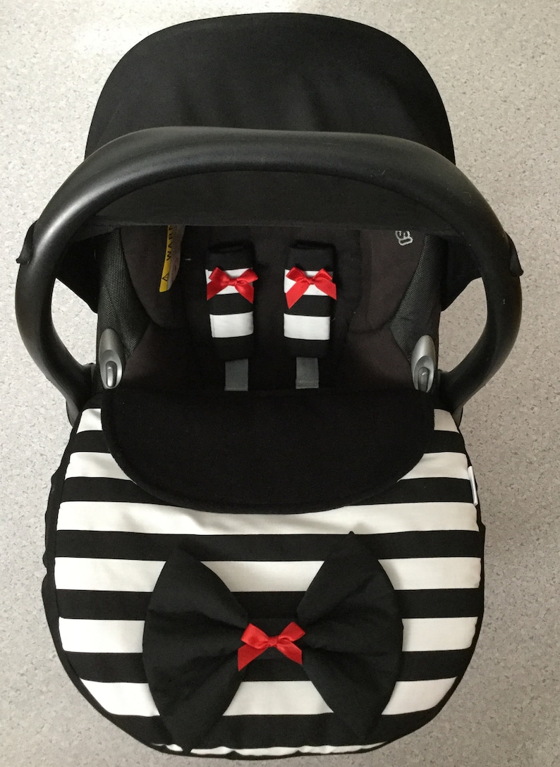 baby car seat apron harness strap covers black ivory stripes red