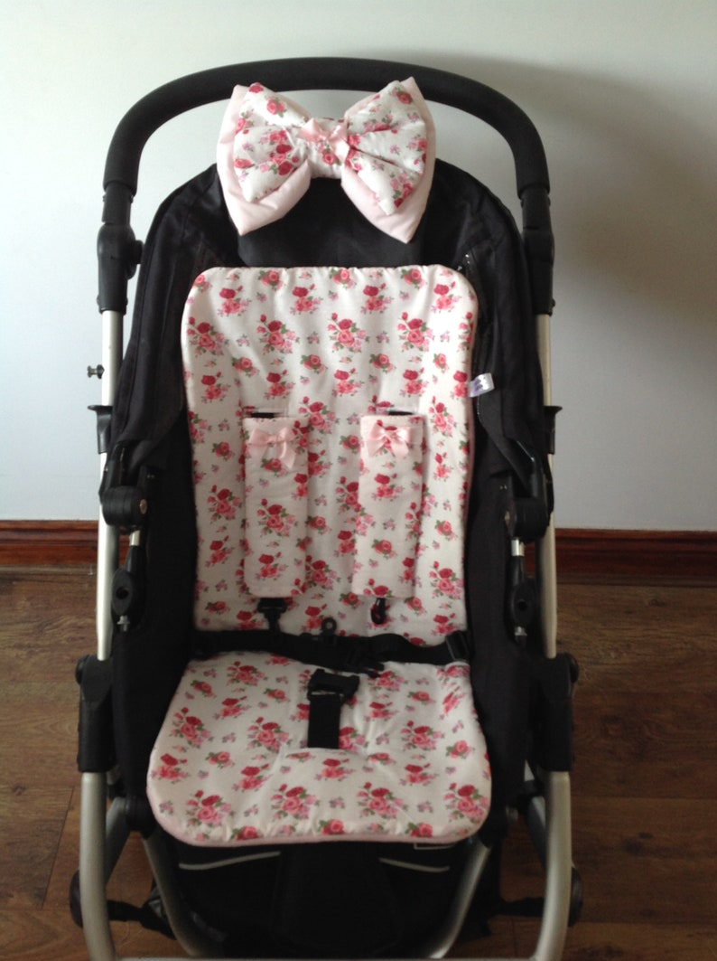 floral ditsy roses flowers pram pushchair liner stay on image 0