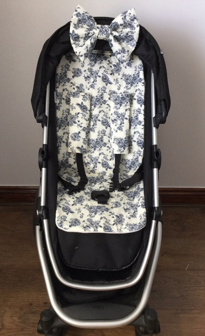 grey cream vintage floral pram pushchair liner cotton fabric image 0