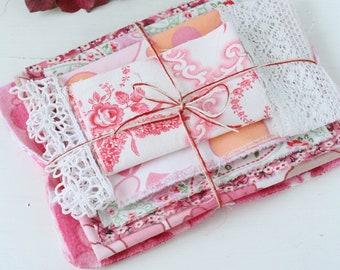 pink floral vintage and non vintage fabric bundle