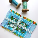 turquoise and green floral vintage fabric bundle for crafts