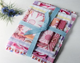 mid century pink and white striped and check vintage cotton bundle for crafts