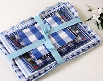 blue and white vintage fabric bundle for crafts