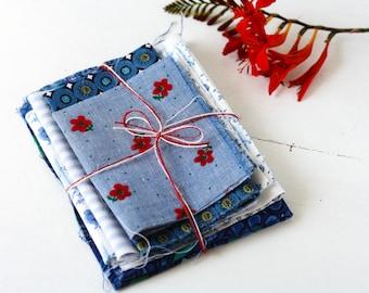 blue and white floral vintage cotton bundle for crafts - bundle 2