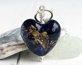 Large, Indigo Heart Pendant, Handmade Lampwork Glass & 925 Sterling Silver Women's Necklace, Unique Jewellery Gift, Not Just For Valentine's