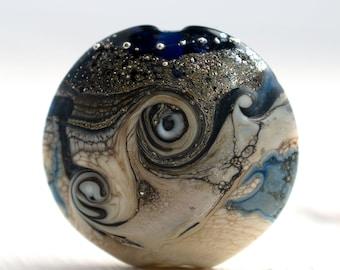 SRA Coral and Ivory Polkas Lampwork Beads UK Seller