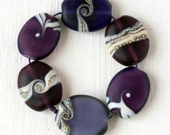 Purple Lampwork Beads Handmade Glass Bead Set of Six Matte Pebble Beads