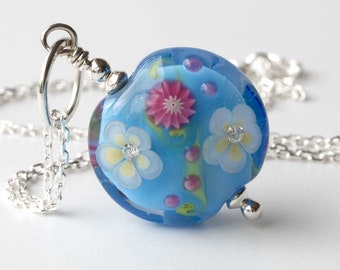 Sky Blue Floral Pendant, One of a Kind Anniversary Present For Wife, Necklaces For Women