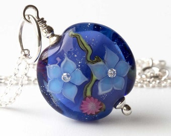 Purple Floral Necklace - Handmade Glass Lampwork Bead & Sterling Silver Flower Jewellery, Unique Xmas Gift for Her