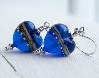 Bright Blue Glass Heart Earrings, Handmade Lampwork Jewellery, Gift For Women