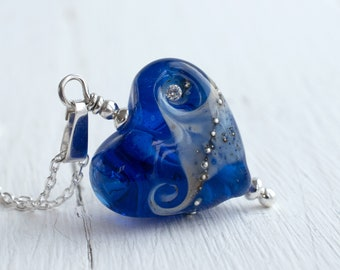 Bright Blue Glass Heart Necklace For Women, Handmade Lampwork Jewellery, Anniversary Gift For Wife