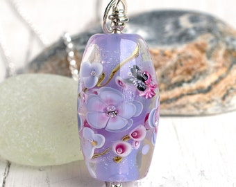 One of a Kind Necklace For Women, Lilac Floral Pendant With Butterfly & Cubic Zirconia, Birthday Present For Wife