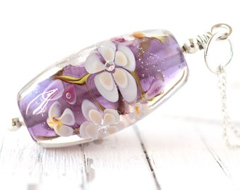 Alice, One Of A Kind Amethyst Flower Necklace, Artisan Glass Lampwork Bead Jewellery Hand Crafted in the UK