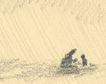 two under the shadow of a tree (mother and child), original pencil drawing (free shipping)