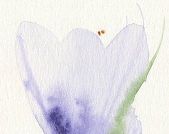 crocuses from dad, original watercolor drawing (free shipping)