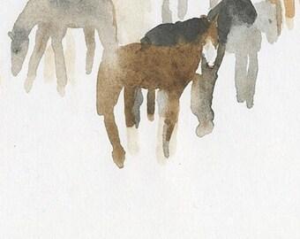 horses in my dreams (like this pj harvey song), original watercolor drawing (free shipping)