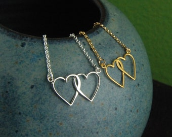 7474c3271c Connected hearts necklace in sterling silver or gold, interlocking hearts, entwined  hearts necklace, two hearts, linked hearts, gold hearts
