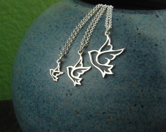 Dove charm necklace in sterling silver, dove necklace, sterling silver dove, bird necklace, sterling silver bird, bird pendant, bird charm