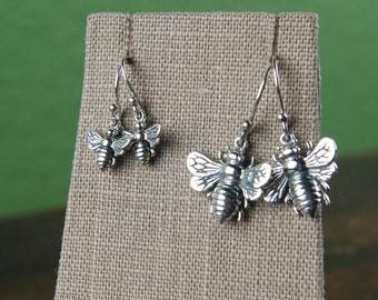 Small or large bee charm earrings in sterling silver, bumble bee, bug earrings, insect, bee hive, honey bee earrings, valentine day