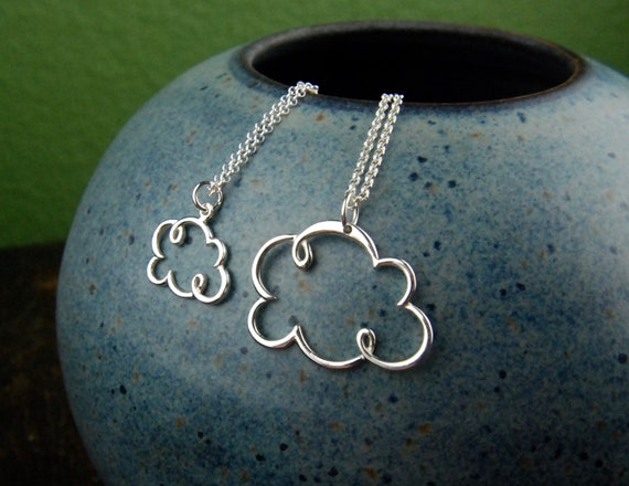 Sterling silver cloud necklace, cloud pendant, silver lining, outline,  nature inspired, rain cloud, everyday jewelry