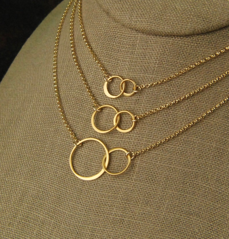 Gold entwined rings necklace linked circles gold circles image 0