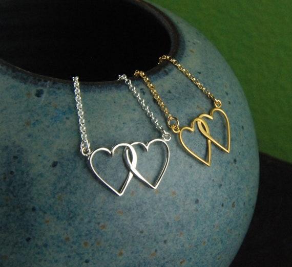 Herzen Kette In Silber Oder Gold Ineinander Verschlungene Etsy
