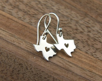 Texas state charm with heart earrings in sterling silver, heart of Texas, lone star state, cowboy, western, Texas earrings, mother's day