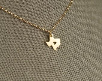 Gold Texas state charm and 14 karat gold filled chain, heart of Texas, state of Texas, Texas necklace, heart charm, state charms