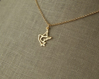 Gold dove charm and gold filled necklace, dove necklace, bird charm necklace, gold bird necklace, gold dove pendant, peaceful dove