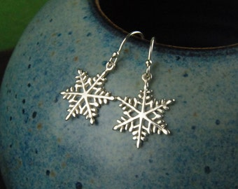 Sterling silver snowflake charm earrings, snowflake, winter, snow, snowflake earrings, silver earrings, holiday, Christmas