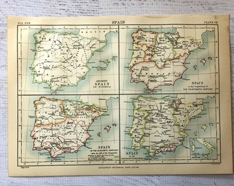 Antique Spain Map Etsy