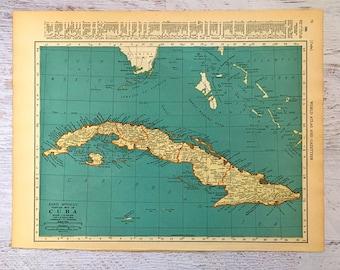 Vintage Cuba Map Etsy - Vintage map of cuba