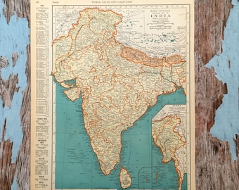 Old Map Of India Etsy