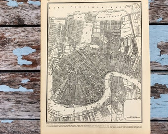 Antique New Orleans Map.New Orleans Old Map Etsy