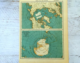 South Pole World Map.South Pole Map Etsy