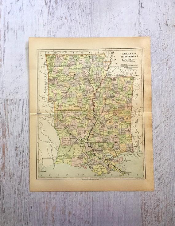 Arkansas And Louisiana Map.1882 Arkansas Mississippi Louisiana Map Original Colorful Etsy