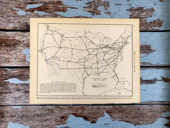 1937 Air Plane Map  American Operated Airline Routes  Historical Print,  Lithograph Framing  81 Year Old Map  Aviation Map  Airlines, Planes