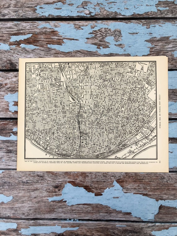 Antique Map of St Louis.  Missouri City Map. 1937 Historical Print, Lithograph Framing. 79 Yr Old Map of Missouri City to Frame.