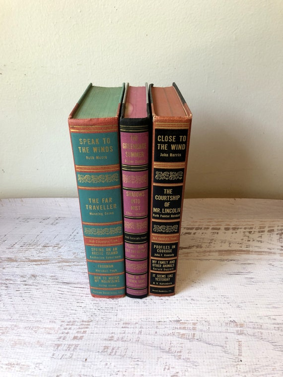 Antique Decorative Books, Best In Books- Multi Colored Spines. Wedding  Centerpiece, Old Book Collection, Books for Decorating, Vintage Books
