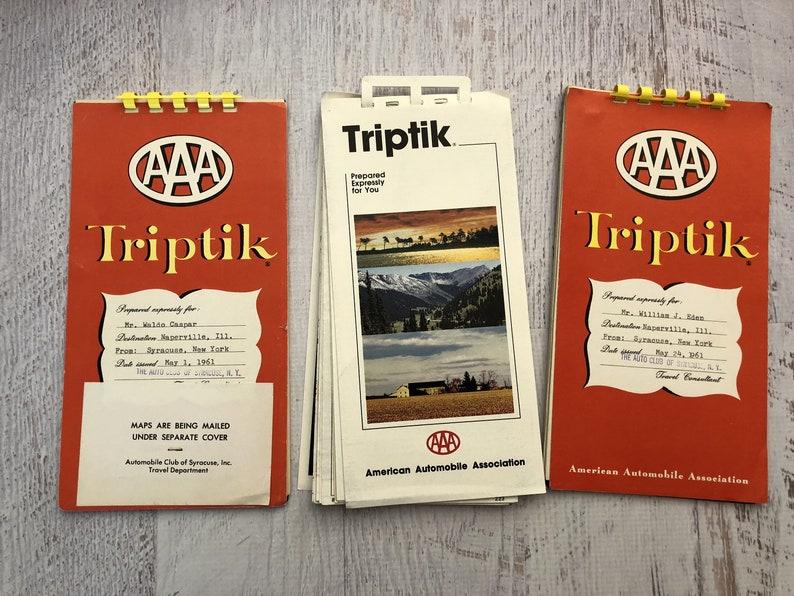 3 Vintage Triptik Books. 1960s & 1980s. Vintage Road Map image 0