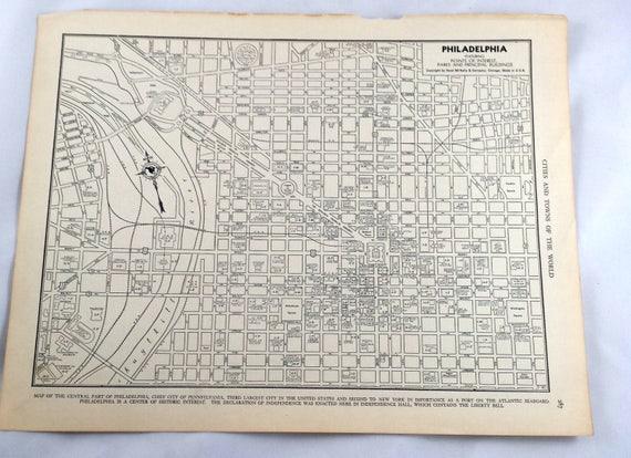 Antique Map of Philadelphia. City Map. 1937 Historical Print | Etsy