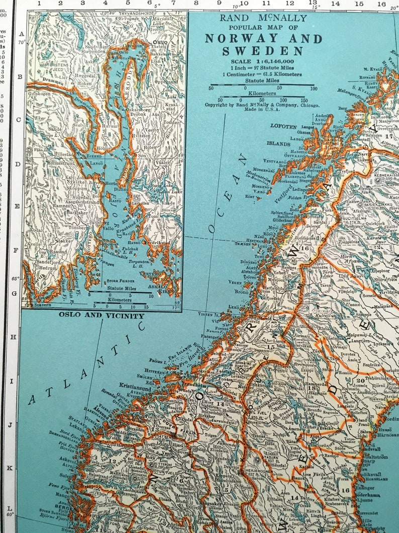 1937 Norway & Sweden Antique Map. Old Map of European Countries. Historical on flag of norway, only map of norway, major physical features in norway, regional map of norway, oslo norway, globe showing norway, transportation of norway, topographical map of norway, 5 major cities in norway, map of denmark and norway, large map of norway, detailed map of norway, just maps of norway, google map of norway, ferries of scotland and norway, political map of norway, easy map of norway, map of south norway, green map of norway, outline map of norway,