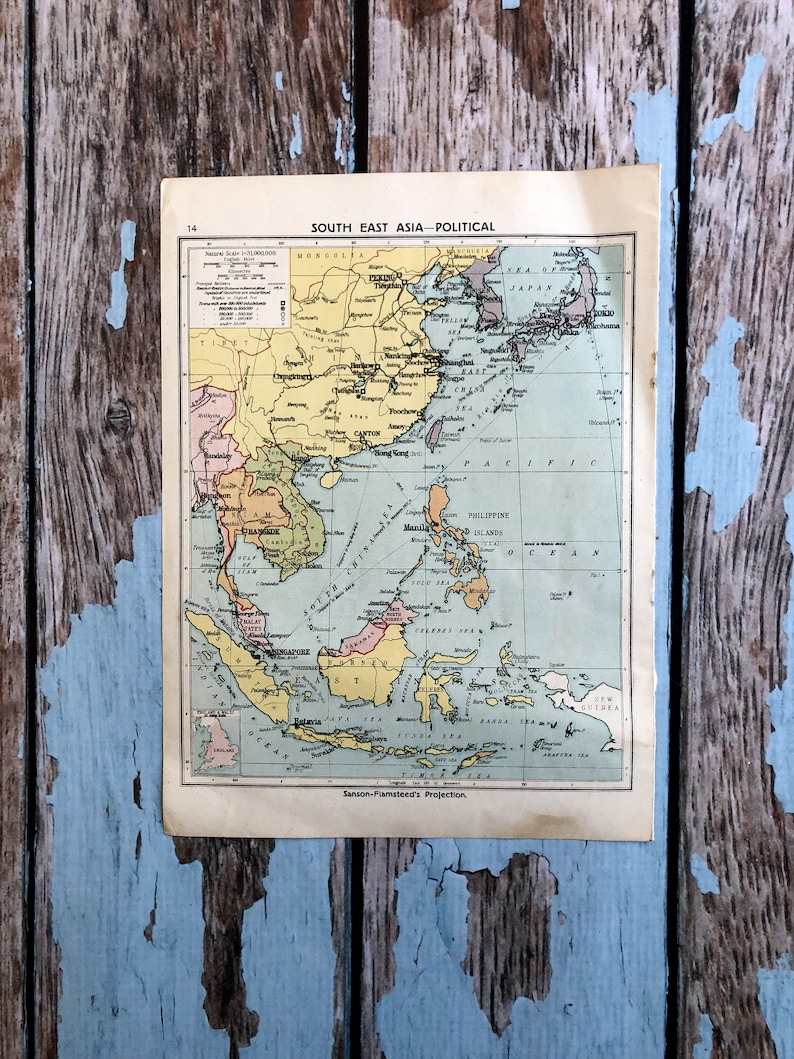 Map Of Southeast Asia And South Pacific.1920 South East Asia Map Vintage Map Of The South Pacific And Middle East Historical Print Lithograph Antique 99 Year Old Map To Frame