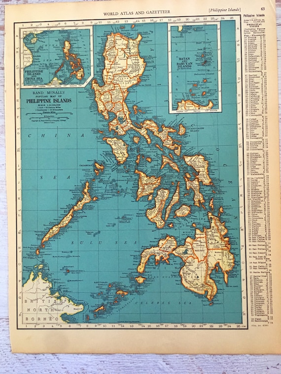 1937 Philippines Map. Antique Map of The Philippine Islands. Historical  Print, Lithograph for Framing. Beautiful 80 Yr Old Map to Frame.